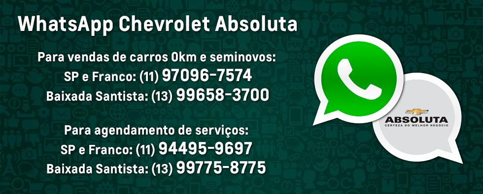 Whatsapp para Venda de carros novos, seminovos e agendamento de serviços na concessionária Chevrolet Absoluta.