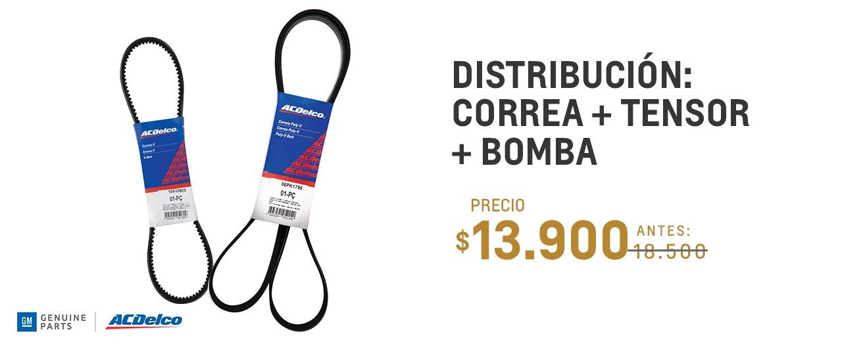 Distribución: Correa + tensor + bomba para Chevrolet Spin