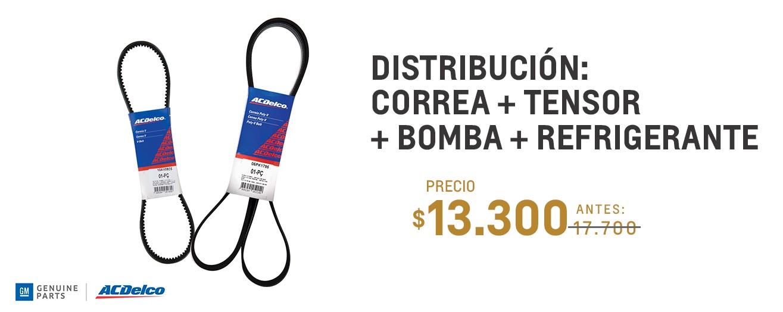 Distribución: Correa + tensor + bomba + refrigerante para Chevrolet Classic y Celta