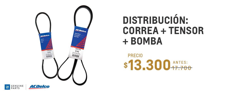 Distribución: Correa + tensor + bomba para Chevrolet Joy, Joy Plus, Onix y Prisma