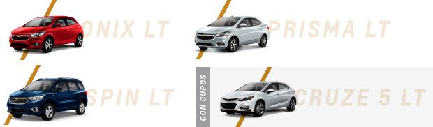 Modelos Plan 12 Cuotas Fijas: Chevrolet Onix LT, Prisma LT y Spin LT y Cruze 5 LT con cupo