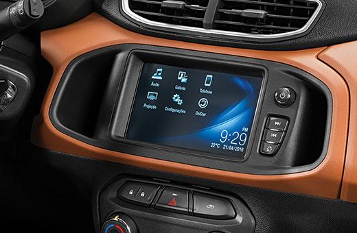 Tecnologia MyLink Nova Geração Chevrolet novo Onix Activ 2017 laranja