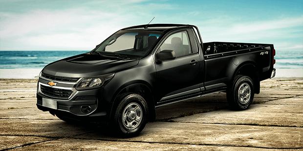 Frente e lateral nova caminhonete Chevrolet S10 Cabine Simples 2019