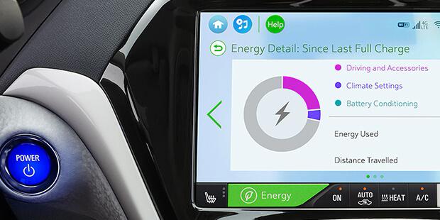 Detalhes de energia do carro elétrico Chevrolet Bolt EV