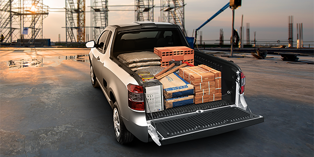 Caçamba carga trabalho Chevrolet Montana caminhonete 2019