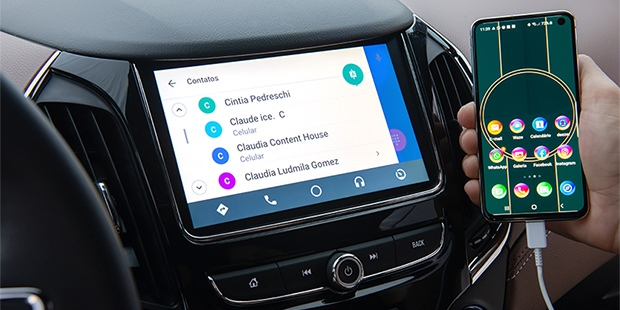 Chevrolet Cruze sedan 2020 com Android Auto para conectar smartphone android