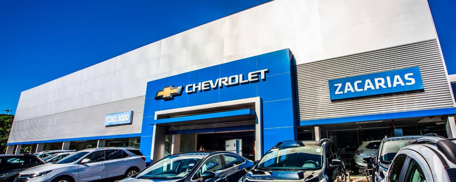 Venda e ofertas de carros novos e seminovos na concessionária Chevrolet Zacarias. Peças genuínas GM, acessórios automotivos originais e serviços de manutenção e revisão de veículos.